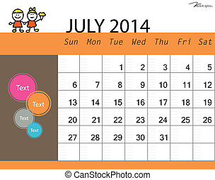 Simple 2014 calendar, July. Vector illustration.