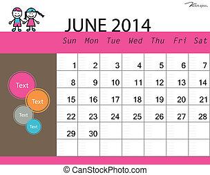 Simple 2014 calendar, June. Vector illustration.