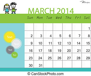 Simple 2014 calendar, March. Vector illustration.