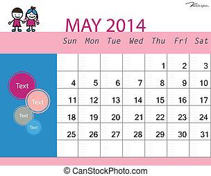 Simple 2014 calendar, May. Vector illustration.