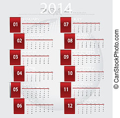 Simple 2014 year calendar, vector illustration.