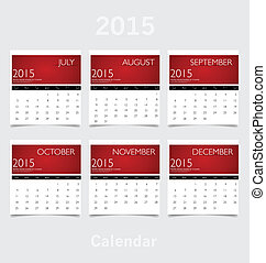 Simple 2015 year calendar (July, August, September, October, Nov