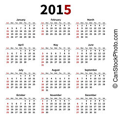 Simple 2015 year calendar on white background
