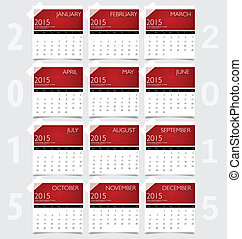 Simple 2015 year calendar, vector illustration.