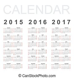 simple, 2017, vecteur, 2016, année, calendrier, 2015