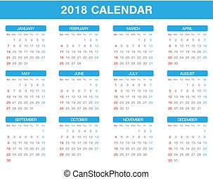 simple 2018 year calendar set of all month