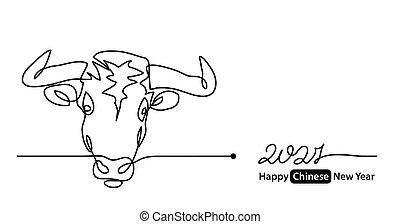 Simple 2021 Happy Chinese New Year vector banner, background. Concept with white ox, cow, bull mug or face. One continuous line drawing