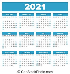 Simple 2021 year calendar, week starts on Sunday