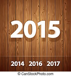 Simple 3D 2015  on Wooden Background