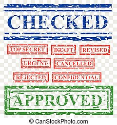 9 Rubber Red Blue and Green Stamp Effect, Document Proposal Offering Related, Checked, top secret, draft, revised, urgent, cancelled, rejected, at transparent effect background