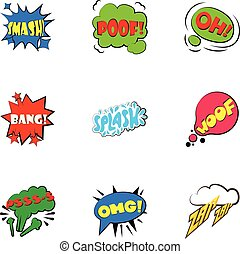 Simple abbreviations speech bubbles icons set