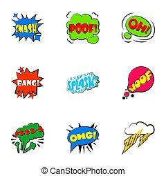 Simple abbreviations speech bubbles icons set