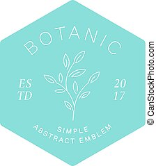 Simple Abstract Botanical Label, Emblem or Logo Template....