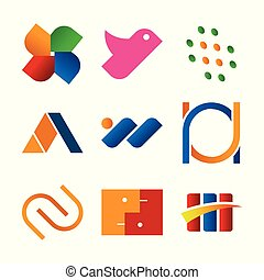 Simple Abstract Corporate Symbol Design Set