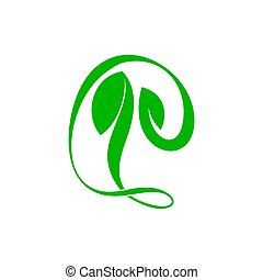 simple abstract curves nature green leaf symbol logo vector