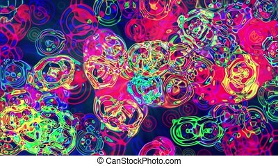 simple abstract looped flat style background with circles change their size 4k