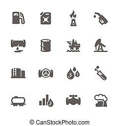 simple, aceite, iconos