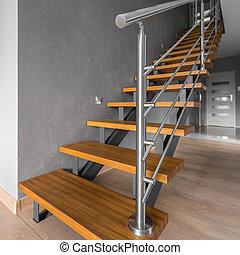 simple, acier, escalier, balustrade