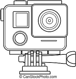 Simple action camera icon in outline style