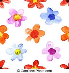 simple, acuarela, flores