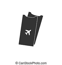 Simple airport plane ticket icon