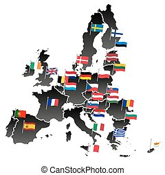 simple all european union countries in one map with flags eps10