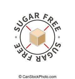 Simple allergen icon, sugar free sign on white
