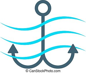 simple anchor icon with waves
