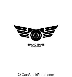 simple and elegant turbo logo design, with a combination of flaying wings