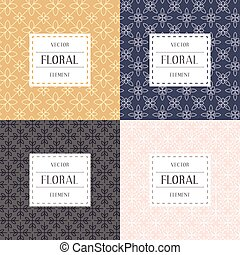 Simple and graceful floral pattern design template, Elegant lineart logo design, vector icon illustration. Modern Style