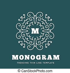 Simple and graceful monogram design template
