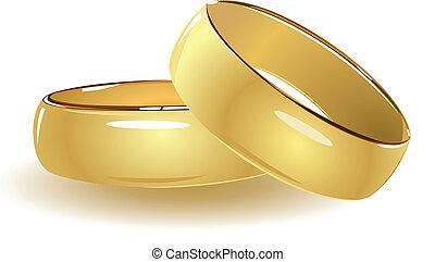 simple, anillos, boda