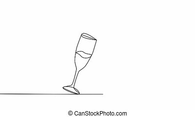 Simple animation of continuous line drawing. of two glasses ...