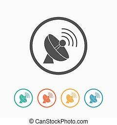 Simple antenna icon. - Parabolic simple flat antenna icon...