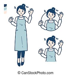 A woman in a apron with panic images.