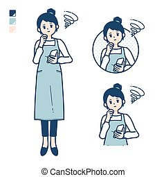 A woman in a apron with Holding a smartphone and troubled images.It's vector art so it's easy to edit.