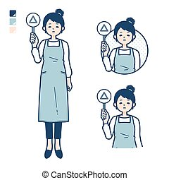 A woman in a apron with Put out a Triangle panel image.It's vector art so it's easy to edit.