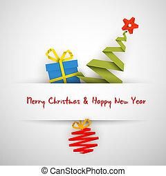 simple, arbre, babiole, vecteur, cadeau, noël carte