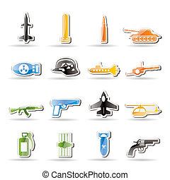 simple, arma, brazos, guerra, iconos