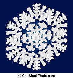 simple, arrière-plan., bleu, noël, flocon de neige