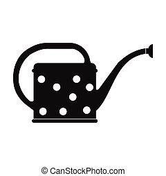 simple, arrosage, noir, boîte, icône