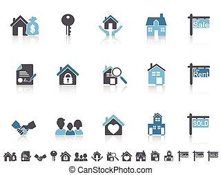 simple, azul, color, conjunto, iconos, propiedad, verdadero