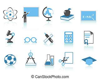 simple, azul, educación, icono, serie