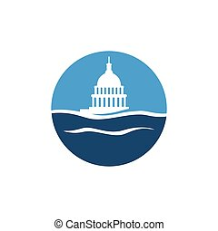 simple, bâtiment, eau, vecteur, capitole, logo, conception