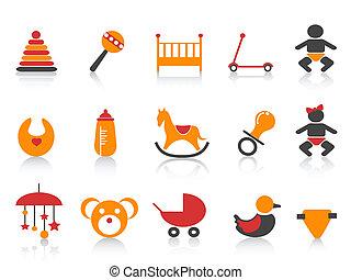 simple, bébé, ensemble, icônes