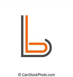 b, bb, bL initials line art geometric company logo - simple...