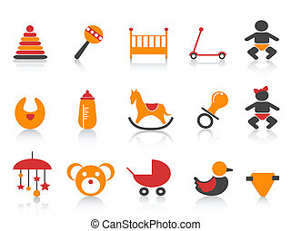 simple baby icons set