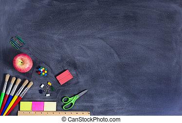 simple, back to la escuela, suministros, en, erased, negro, pizarra