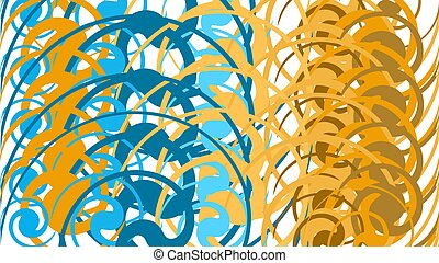 Simple background, a texture of minimalistic multi-colored abstract different circular bright lines, circles, ovals and geometric figures arranged in a circle. Vector illustration.