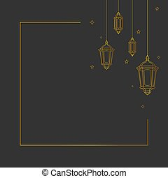 Simple background with hanging lantern vector design